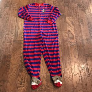 Nick and Nora sock monkey footed pajamas size M